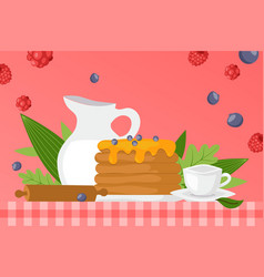 sweet syrup pancakes homemade food vector image