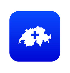 switzerland map icon digital blue vector image