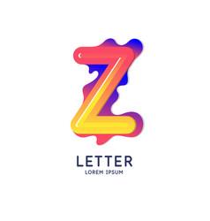 The letter z latin alphabet display vector