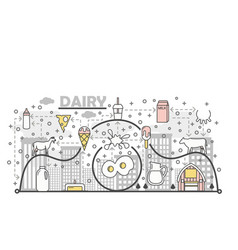 thin line art dairy poster banner template vector image
