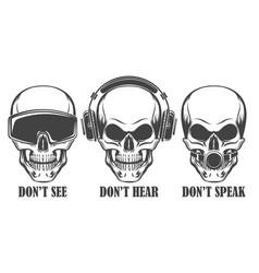 Three human skulls in headphones virtual reality vector