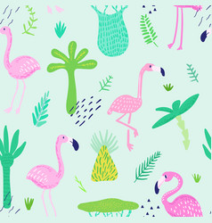 Tropical seamless pattern with cute flamingo vector