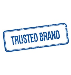 Trusted brand blue square grungy vintage isolated vector