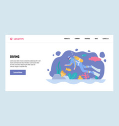 Web site gradient design template scuba vector