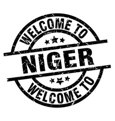 Welcome to niger black stamp vector