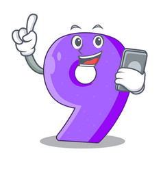 With phone mock interior font number on cartoon vector