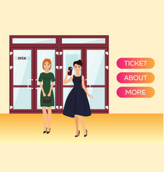 woman buying cinema or theatre tickets banner vector image