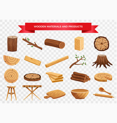 Wood material products set vector