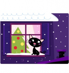xmas cat look through window vector image