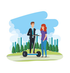 Young couple in folding e-scooter on landscape vector