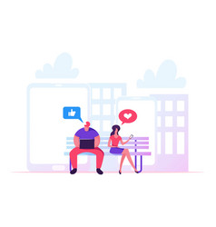Young man and woman sitting on bench in park vector