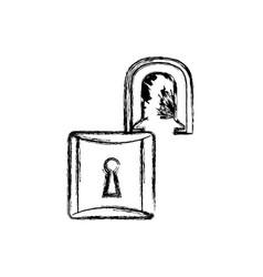contour lock open icon vector image