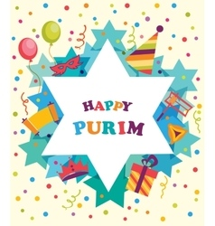 David star with objects of Purim holiday Jewish vector image