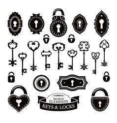 Set of different vintage keys vector