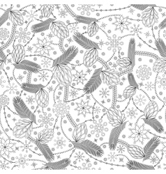 Snowflake and cones seamless pattern coloring vector image