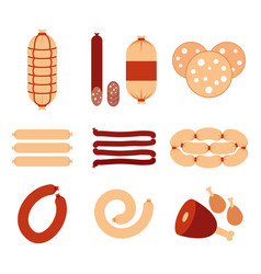variety of sausages and meat icons set flat vector image vector image