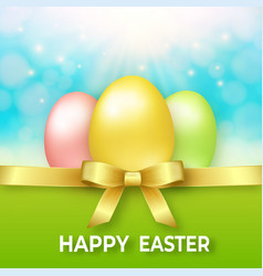 happy easter template with golden ribbon bow and vector image vector image