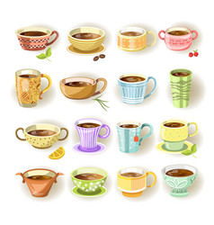 cups with various colorful print set on white vector image vector image