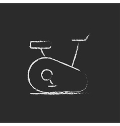 Exercise bike icon drawn in chalk vector image