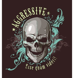 Grunge image with skull vector image vector image