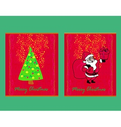 Happy New year cards with Santa and christmas tree vector image