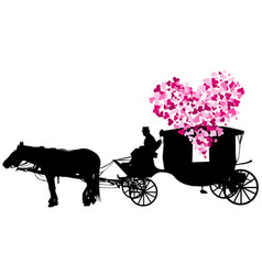 love carriage on white background vector image vector image