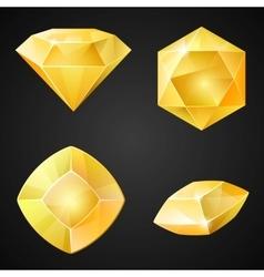 Set of yellow gemstones vector image vector image