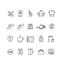 Airport thin line icons vector image vector image