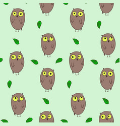 Cute hand drawn pattern with owls and leaves vector