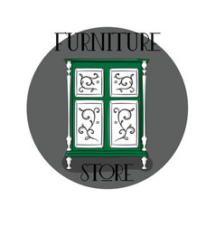 poster furniture store green wooden chest of vector image vector image