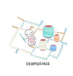 Seamstress sewing colored threads huge colorful vector