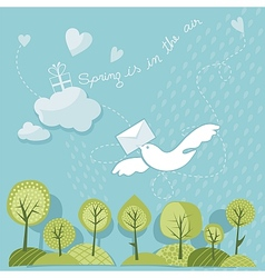 Spring trees and sky vector image vector image