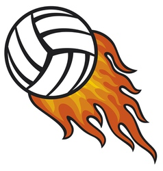 Volleyball ball in fire vector