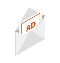 White envelope with card for advertising icon vector image vector image