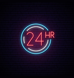 24 hours neon sign light signboard with simbol vector image