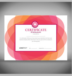 Abstract floral pink certificate of achievement vector