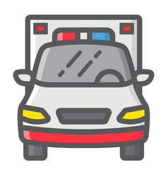 ambulance filled outline icon transport vehicle vector image