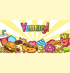 Background with cute kawaii fast food meal vector