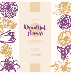 beautiful flowers - color hand drawn composite vector image