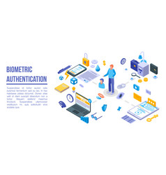 Biometric authentication concept banner isometric vector