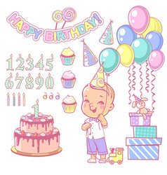 birthday party decoration set vector image