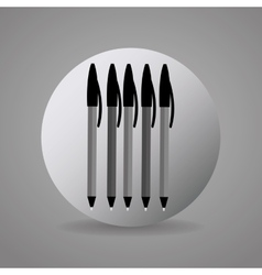 Black and gray pens icon vector