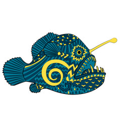 bright colored creepy monk fish vector image