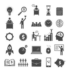 Business icons marketing diagram office managers vector