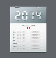Calendar 2014 Number paper digital design vector