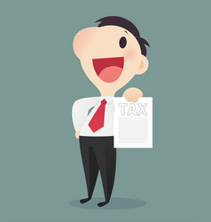 cartoon businessman holding tax form vector image