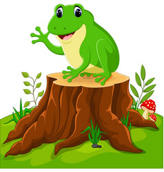cartoon funny frog sitting on tree stump vector image