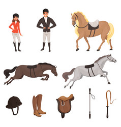 Cartoon jockey icons set with professional vector
