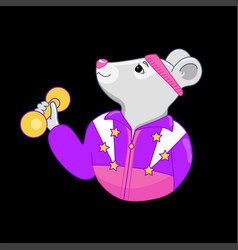 cartoon sports fitness mouse with dumbbells in vector image