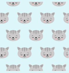 cat pattern with cute cartoon sleeping cat vector image
